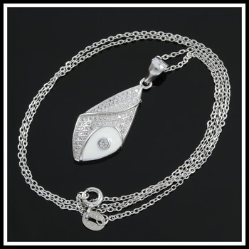 Solid .925 Sterling Silver with 18K White Gold Overlay, 1.25ctw AAA Grade Italian CZ's Necklace