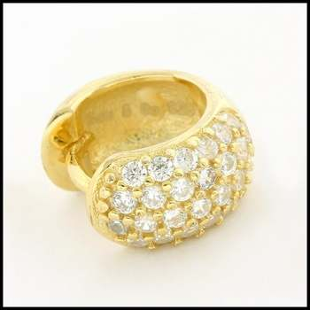 Solid .925 Sterling Silver with 18K Yellow Gold Overlay, 0.25ctw AAA Grade Italian CZ's Single Earring