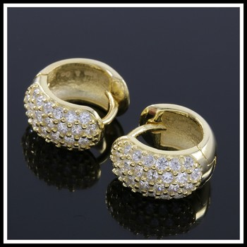 Solid .925 Sterling Silver with 18K Yellow Gold Overlay, 0.50ctw AAA Grade Italian CZ's Earrings
