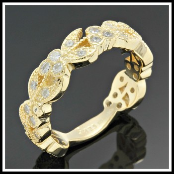 Solid .925 Sterling Silver with 18K Yellow Gold Overlay, 0.75ctw AAA Grade Italian CZ's Ring Size 8