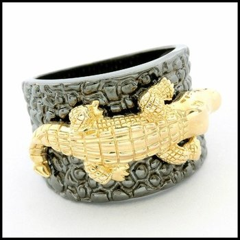 Solid .925 Sterling Silver with 18k Yellow Gold Plated & Black Rhodium Alligator Ring sz 7