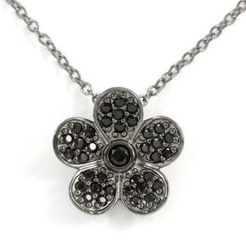 Solid .925 Sterling Silver with Rodium Overlay, 0.37ctw Black Spinel Necklace