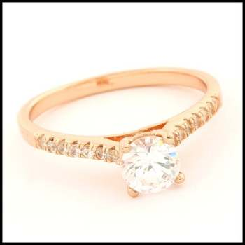 Solid .925 Sterling Silver with Rose Gold Overlay, 0.94ctw (AAA Grade) CZ's Ring sz 9