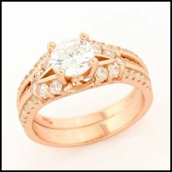 Solid .925 Sterling Silver with Rose Gold Overlay, 1.25ctw White Sapphire Ring sz 6