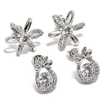 Solid .925 Sterling Silver with White Topaz Lot of 2 Earrings