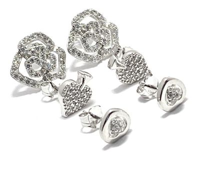 Solid .925 Sterling Silver with White Topaz Lot of 3 Earrings