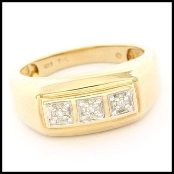 Solid .925 Sterling Silver with Yellow Gold Overlay, 0.05ctw Genuine Diamond Ring sz 9