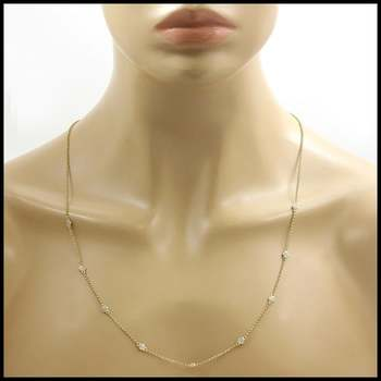 Solid .925 Sterling Silver with Yellow Gold Overlay, 0.18ctw Genuine Diamond  Necklace