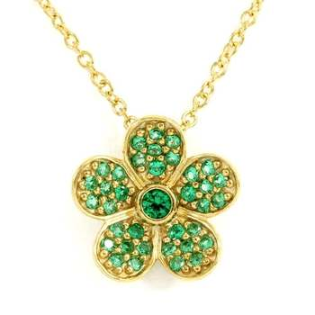 Solid .925 Sterling Silver with Yellow Gold Overlay, 0.37ctw Emerald Necklace