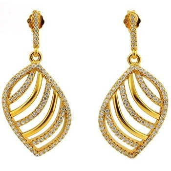Solid .925 Sterling Silver with Yellow Gold Overlay, 1.10ctw Genuine White Topaz Earrings