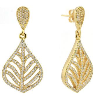 Solid .925 Sterling Silver with Yellow Gold Overlay, 1.25ctw Genuine White Topaz Earrings