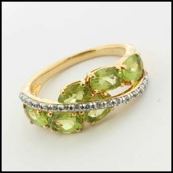 Solid .925 Sterling Silver with Yellow Gold Overlay, Genuine Peridot & White Sapphire Ring sz 7