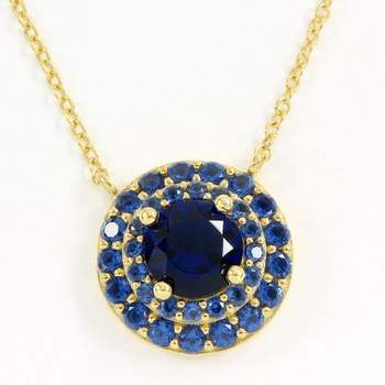 Solid .925 Sterling Silver & Yellow Gold Overlay, 2.25ctw Sapphire Necklace