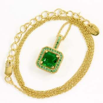 Solid .925 Sterling Silver & Yellow Gold Overlay, 2.50ctw Emerald Necklace