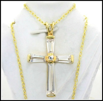 Solid .925 Sterling Silver & Yellow Gold Overlay 3.25ctw AAA Grade CZ's Cross Necklace