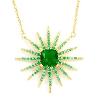 Solid .925 Sterling Silver & Yellow Gold Overlay, 3.25ctw Emerald Necklace