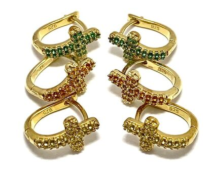 Solid .925 Sterling Silver & Yellow Gold Overlay Yellow Topaz, Citrine & Emerald Lot of 3 Cross Earrings