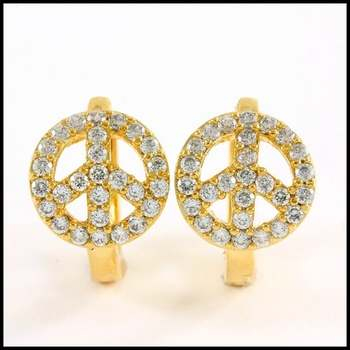 Solid .925 Sterling Silver & Yellow Gold Plated, 0.25ctw AAA Grade CZ's Earrings