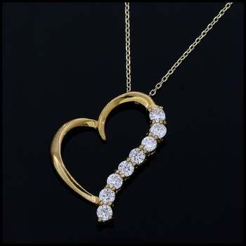 Solid .925 Sterling Silver & Yellow Gold Plated, 0.8ctw White Sapphire Necklace