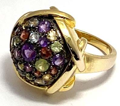Solid .925 Sterling Silver & Yellow Gold Plated, 1.00ctw Multi-Color Stone Ring Size 7