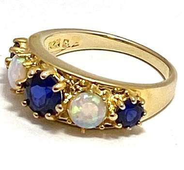 Solid .925 Sterling Silver & Yellow Gold Plated, 1.05ctw Opal & Blue Topaz Ring Size 7
