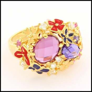 Solid .925 Sterling Silver & Yellow Gold Plated, 2.05ctw Garnet & Amethyst & Enamel & Pink, White Sapphire Ring Size 7