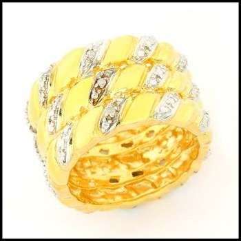 Solid .925 Sterling Silver & Yellow&White Gold Plated, Genuine Diamond Ring Size 6