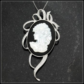 Solid Sterling Silver Genuine Onyx with Mather of Pearl Cameo Pin/Necklace