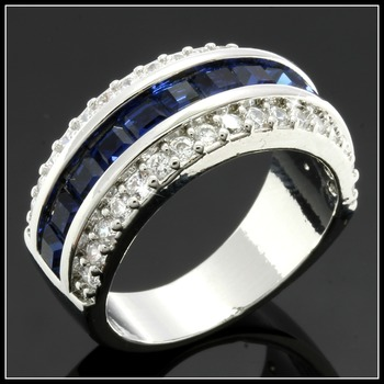 Solid.925 Sterling Silver Sapphire Ring Size 8