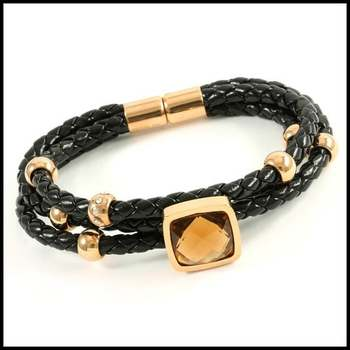 Stainless Steel & Faux Black Leather, 5.00ctw Smoky Quartz & AAA Grade CZ's Bracelet