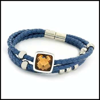Stainless Steel & Faux Blue Leather, 5.00ctw Citrine & AAA Grade CZ's Bracelet