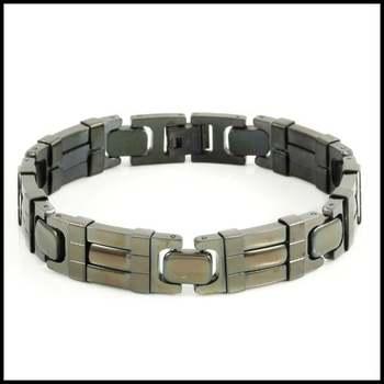 """Stainless Steel & Rhodium Overlay 8.5"""" Long Bracelet"""