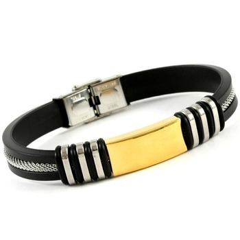 Stainless Steel & Silicone Two-Tone Men's Bracelet