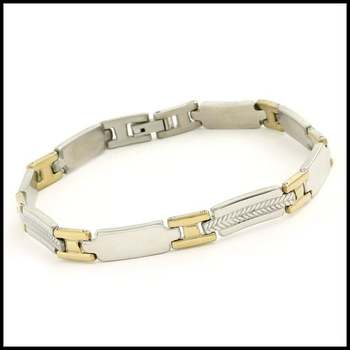 Stainless Steel with White & Yellow Gold Overlay Bracelet