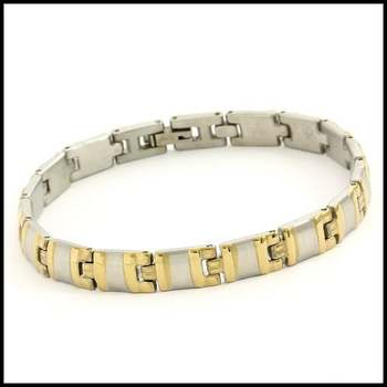 Stainless Steel with White & Yellow Gold Overlay Men's Bracelet