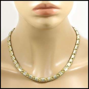 Stainless Steel & Yellow Gold Plated Necklace