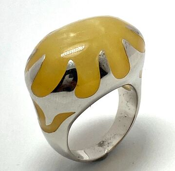 Statement Ring - Yellow Agate Size 8