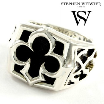 Stephen Webster .925 Sterling Silver Black Mother of Pearl Signet Ring - SIZE 10.75