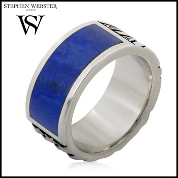 Stephen Webster Alchemy in the UK Silver and Genuine Lapis Union Jack Band Ring Size 10
