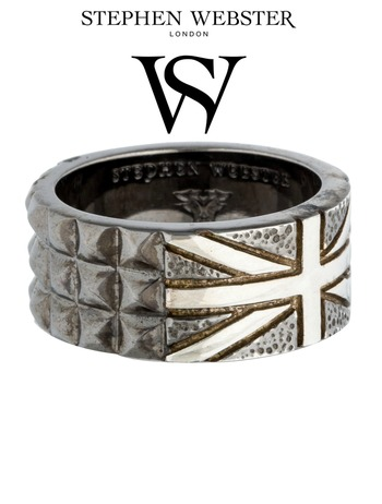 Stephen Webster Alchemy in the UK Yellow Gold Plated Silver and Onyx Band Ring Size 10.75