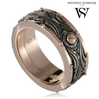 Stephen Webster London Calling Men's Rose Gold Plated Silver Rotating Band Ring size 10.75