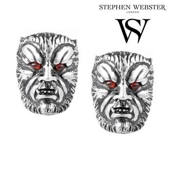 Stephen Webster Men's Sterling Silver Garnet Wolfman Cufflinks