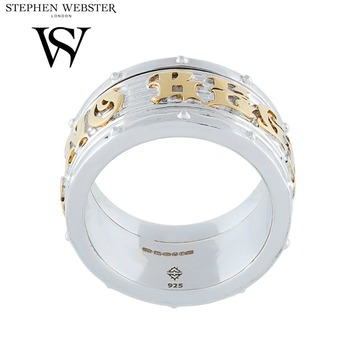 Stephen Webster No Regrets Silver and Yellow Gold Plated Rotating Men's Band Ring size 10.25