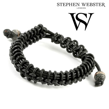 Stephen Webster No Regrets Woven Black Leather and .925 Sterling Silver Beads Bracelet - Size: 16.5 cm - 20 cm