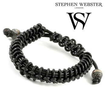Stephen Webster No Regrets Woven Black Leather and .925 Sterling Silver Beads Bracelet - Size: 16.5 cm - 20 cm
