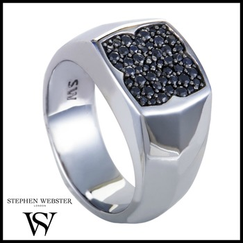 Stephen Webster Rayman Mens Silver and Black Sapphire Pave Signet Ring Size 10.25