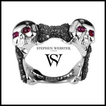 Stephen Webster Skull and Bones Sterling Silver Black Sapphire & Ruby Ring Size 9