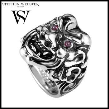 Stephen Webster Sterling Silver & Ruby Japanese Warrior Mask Ring Size 9