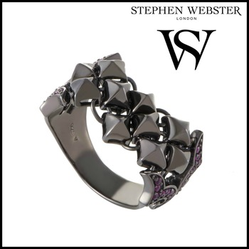 Stephen Webster Superstud Womens Silver and Ruby Pave Band Ring Size 7