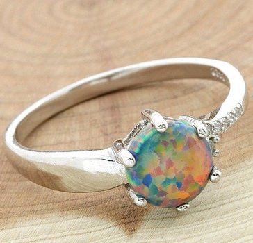 Sterling Silver, 1.00ctw Beautifully Created Opal & White Sapphire Ring Size 7